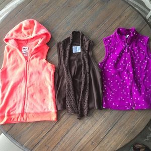 Three girls size 10/12 Justice & Old Navy vests